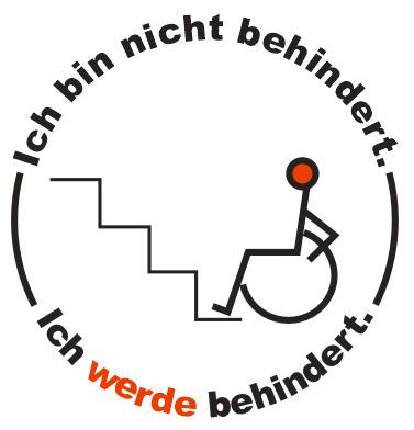 Der Cartoon zeigt einen Rollstuhlfahrer vor Stufen. Rundum ist folgender Text: Ich bin nicht behindert. Ich werde behindert.