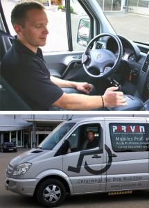 Die zwei Bilder zeigen (oben) Reinhard Sampl, wie er einen Kleinbus per Joystick steuert und (unten) das Fahrzeug von außen.