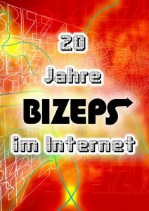 Das Symbolbild zeigt einen alten Computer-Schriftzug 20 Jahre BIZEPS im Internet