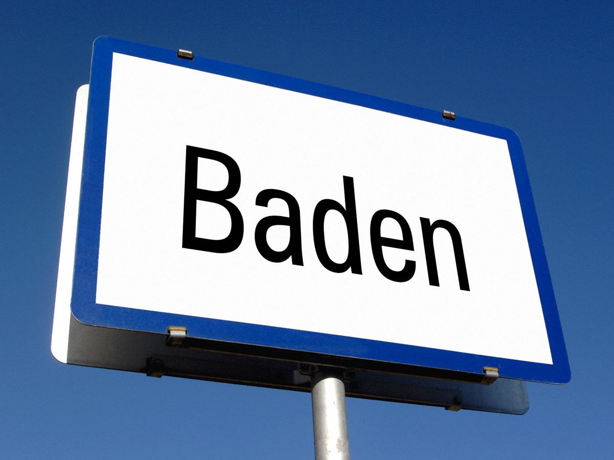 Schild Baden
