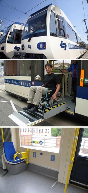 Badner Bahn mit Hublift