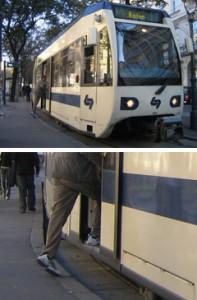 nicht barrierefreie Einstiegssituation der neuen Badner Bahn