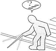 blinder Mensch sucht einen Weg