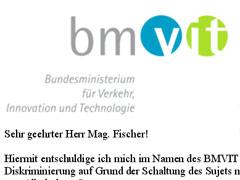Entschuldigungsschreiben BMVIT wegen Diskriminierung