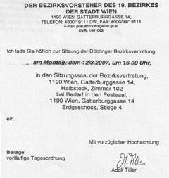 Einladung der Bezirksvorstehung Döbling