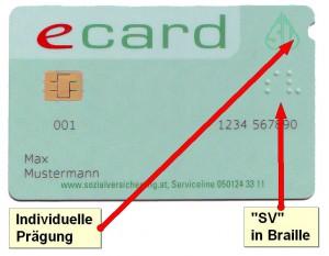 eCard: mit SV in Braille und individueller Prägung