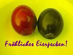 Fröhliches Eierpecken (rot-schwarze Ostereier)