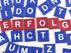 Bausteine mit Buchstaben - man kann lesen: Erfolg