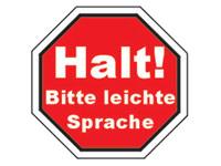 Schild: Halte bitte leichte Sprache