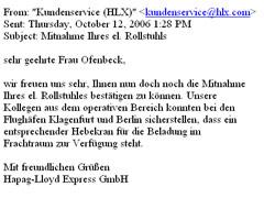 Mail von HLX mit Bestätigung der Mitnahme