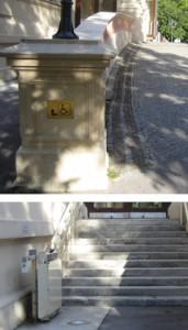 Kennzeichnung zum barrierefreien Eingang Hübner