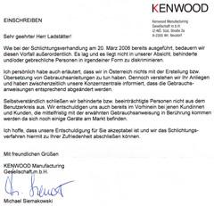 Entschuldigungsschreiben Kenwood