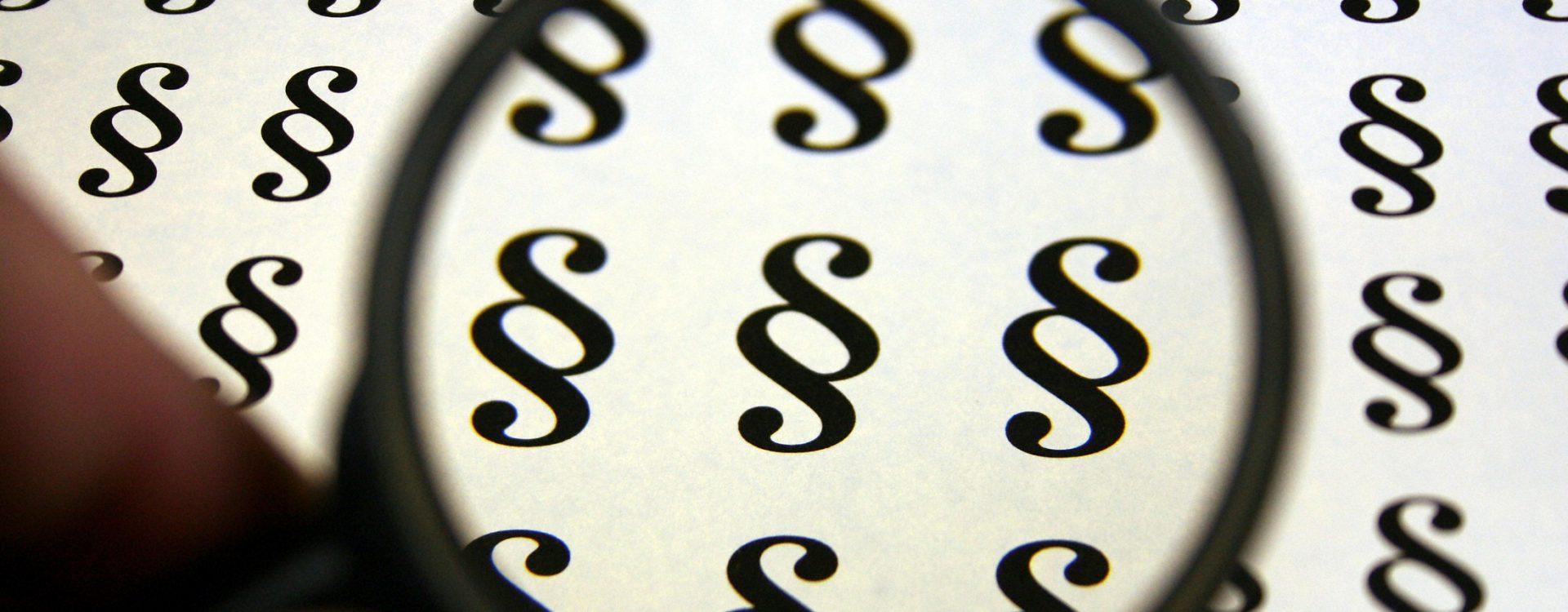 Lupe vergrößert Paragraphenzeichen