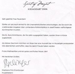 Entschuldigungsschreiben Mozartjahr