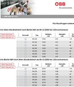 ÖBB-Zugauskunft Wien Berlin