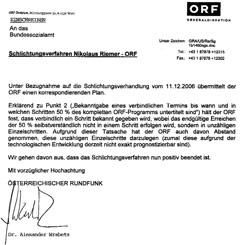 ORF Schlichtungszusage Untertitelung