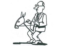 Reiter mit Steckenpferd - als Cartoon