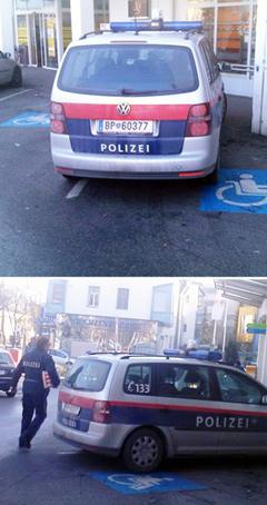 Polizist steht auf Behindertenparkplatz und kauft ein