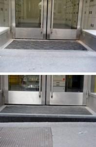 Posteingang vor und nach dem Umbau (nachher Stufe)