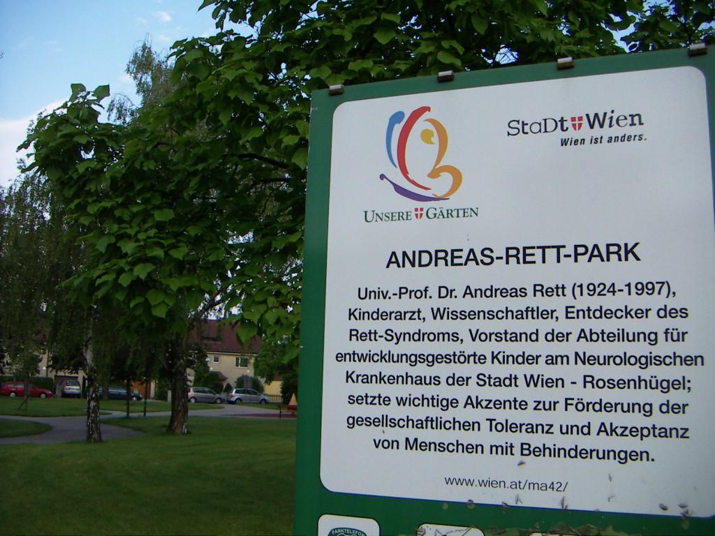 Schild: Andreas-Rett-Park
