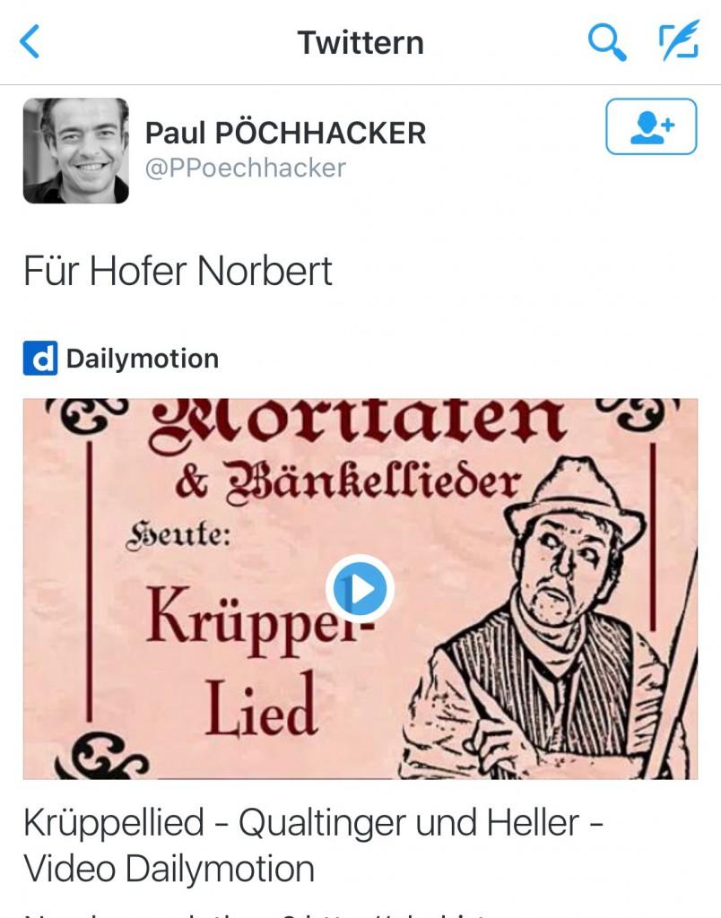 Krüppel-Tweet von Paul Pöchhacker an Norbert Hofer