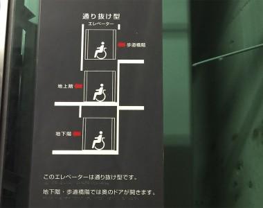 Ein Schild in Japan bei einem Aufzug zeigt an welche Lifttür in welchem Stock geöffnet wird.