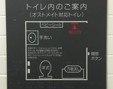 Ein taktil ertastbarer Lageplan inklusive Brailleschrift erklärt, wo sich welche Gegenstände im WC befinden.
