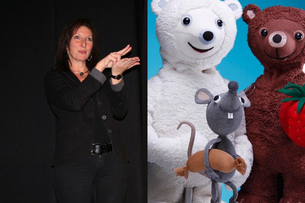 Links: ÖGS-Dolmetscherin Sabine Zeller / Rechts: Eisbär, Mausbär und Erdbär