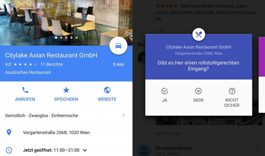 Screenshots von Google Maps mit der Detailansicht des Restaurants Citylake
