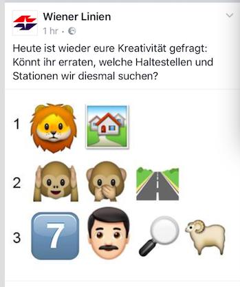 Wiener Linien fragen nach Stationsnamen anhand eines Bilderrätsels