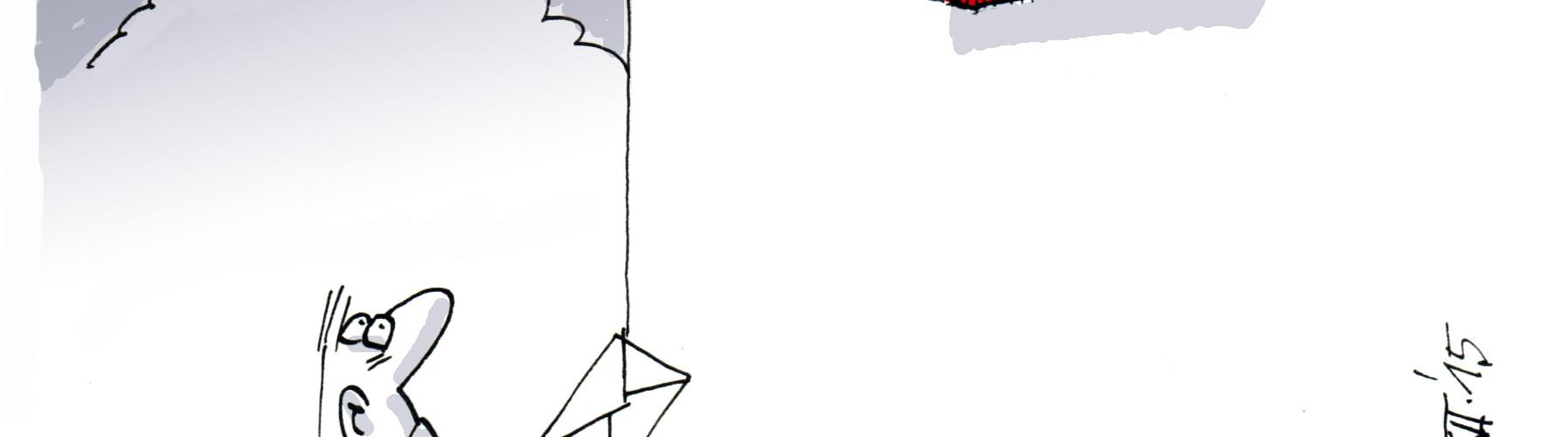 Ein Cartoon: Ein Rollstuhlfahrer möchte einen Brief in einen Postkasten werfen. Der Postkasten ist viel zu hoch montiert für ihn. Darauf steht: Barrierefreies Salzburg Anregungen und Beschwerden.
