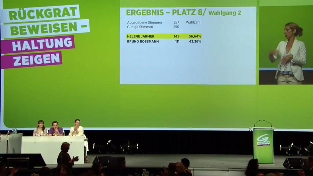 Helene Jarmer gewinnt Wahl um Platz 8 beim Grünen Bundeskongress am 25. Juni 2017 gegen Bruno Rossmann