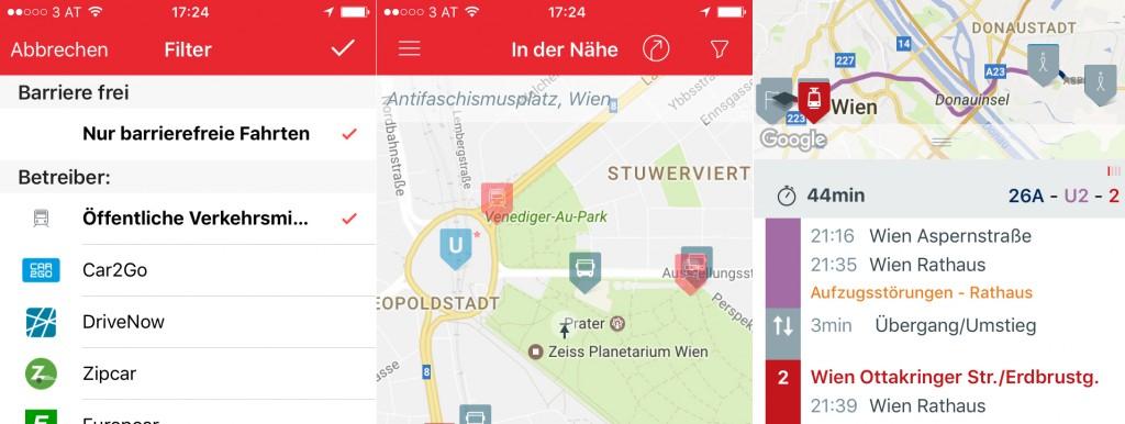 Screenshot der WienMobil-App mit der Einstellung: Nur barrierefreie Fahrten