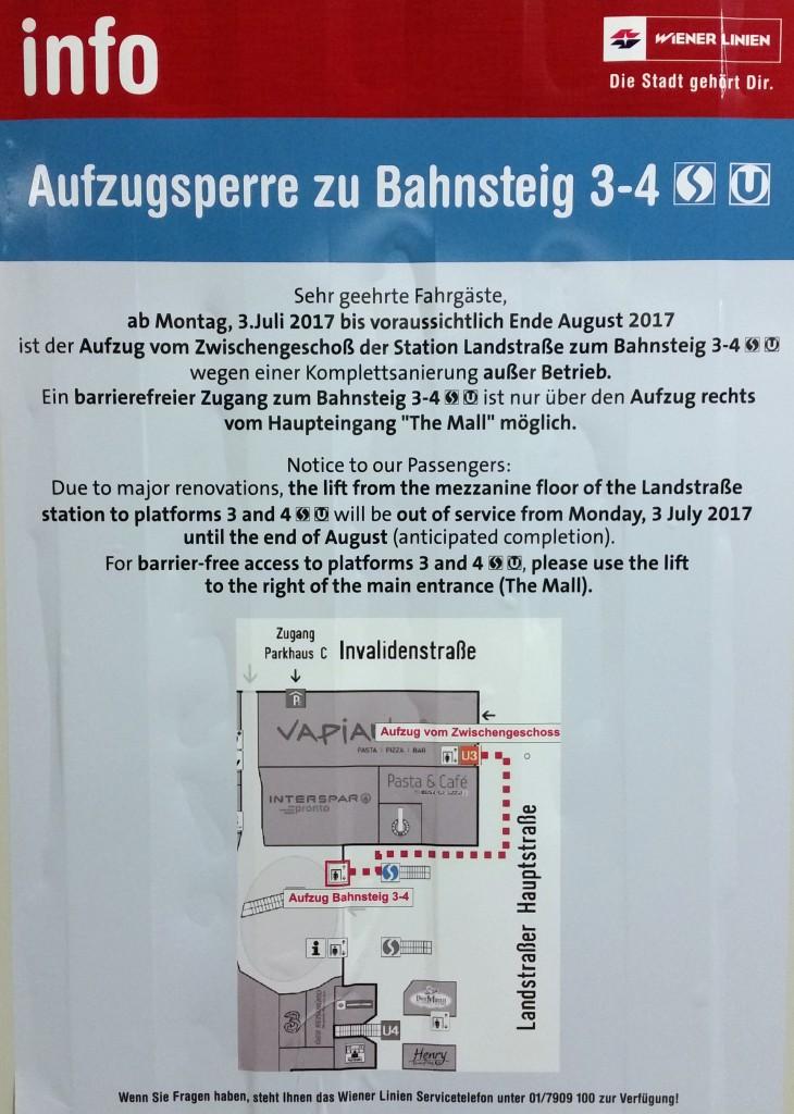 Aufzug Zwischengeschoß zum Bahnsteig 3-4 von 3. Juli bis voraussichtlich Ende August 2017 außer Betrieb