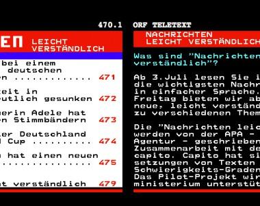 Nachrichten in Leicht Lesen im ORF Teletext