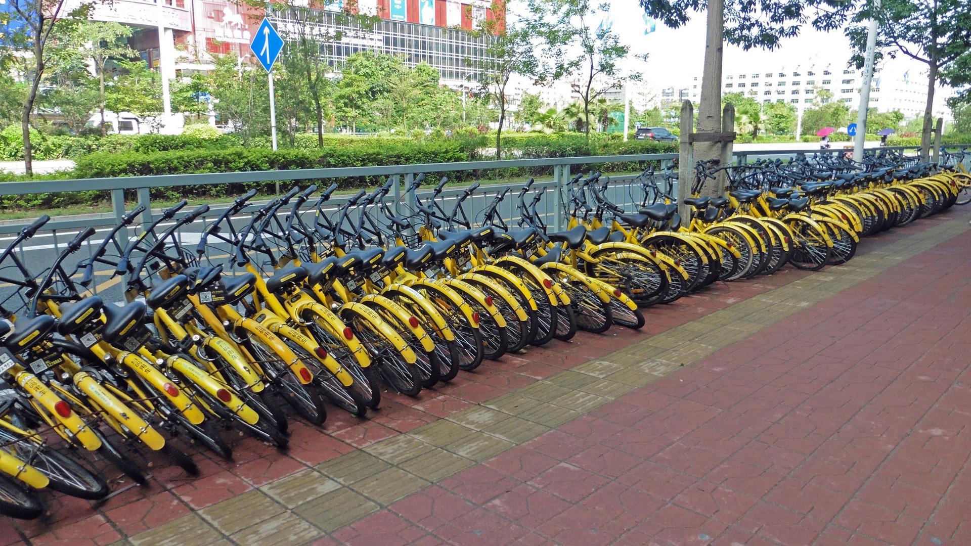Ganz viele Ofo Fahrräder liegen aneinander gelehnt in der Nähe eines Blindenleitlinienstreifens.
