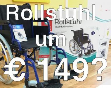 Rollstuhl von Hofer um 149 € Im Hintergrund ist ein Rollstuhl zu sehen.
