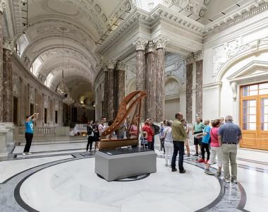 Man sieht das Innere der Neuen Burg und eine Menschengruppe rund um einen Führer der Etwas erklärt.