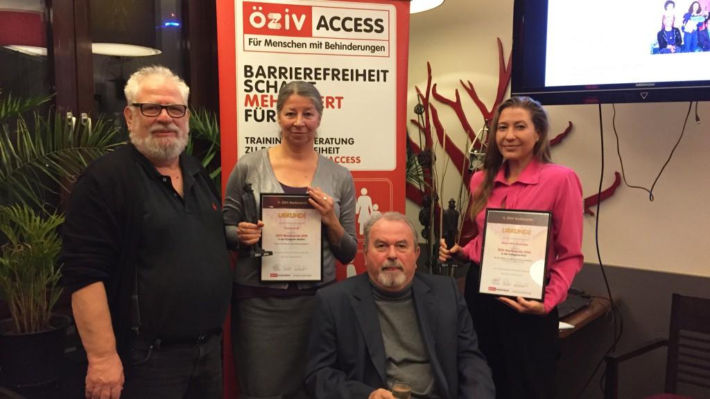 Preisverleihung ÖZIV-Medienpreis 2017: Fred Turnheim, Patricia Aradi, Klaus Voget und Nina Kreuzinger