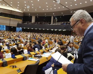 Oswald Föllerer bei Rede im Europäischen Parlament am 6. Dezember 2017