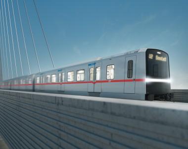 Außenansicht der X-Wagen U-Bahn Wien