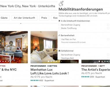 Ein Screenshot der Airbnb Suche mit einem Ausschnitt über die Filtermöglichkeiten für Barrierefreiheit.