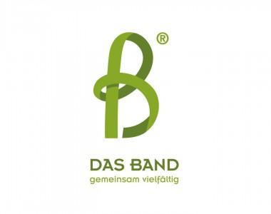 Logo: Eine grüne Schleife formt den Buchstaben B. Darunter steht auch in grün DAS BAND gemeinsam vielfältig