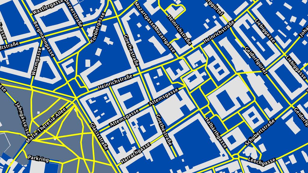 Ein Kartenausschnitt aus Graz von der Website ways2see