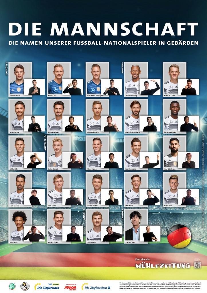 Plakat aus Deutschland: Die Mannschaft. Die Namen unserer Fußball-Nationalspieler in Gebärden. Darunter dann die Gebärden + Portraitfotos von 23 Spielern + dem Trainer