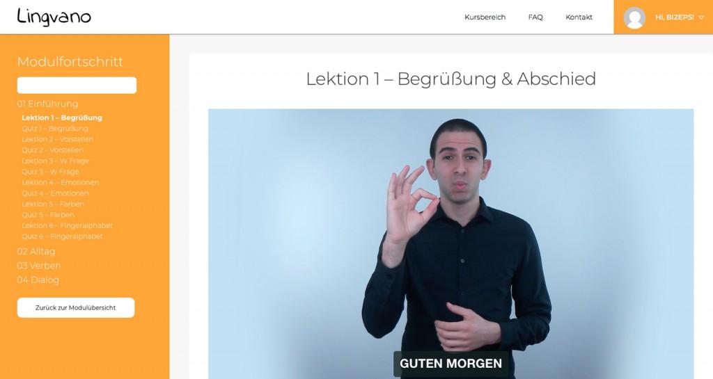Onlinelehrgang Lingvano für Österreichische Gebärdensprache