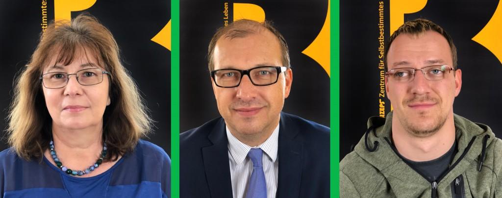 Die Interviewpartner der Radiosendung Barrierefrei gesund von barrierefrei aufgerollt im Portrait. Von links nach rechts: Veronika Pichler, Thomas Holzgruber, Gregor Steininger