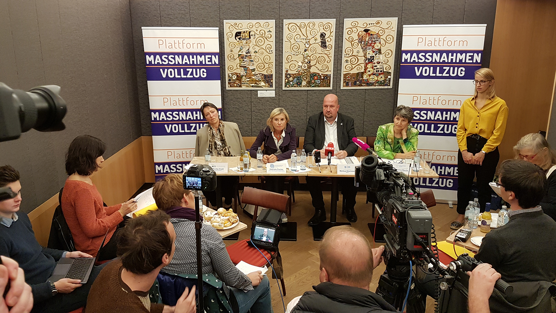 Pressekonferenz Maßnahmenvollzug mit Markus Drechsler, Monika Hradil, Gabriele Fischer, Katharina Beclin