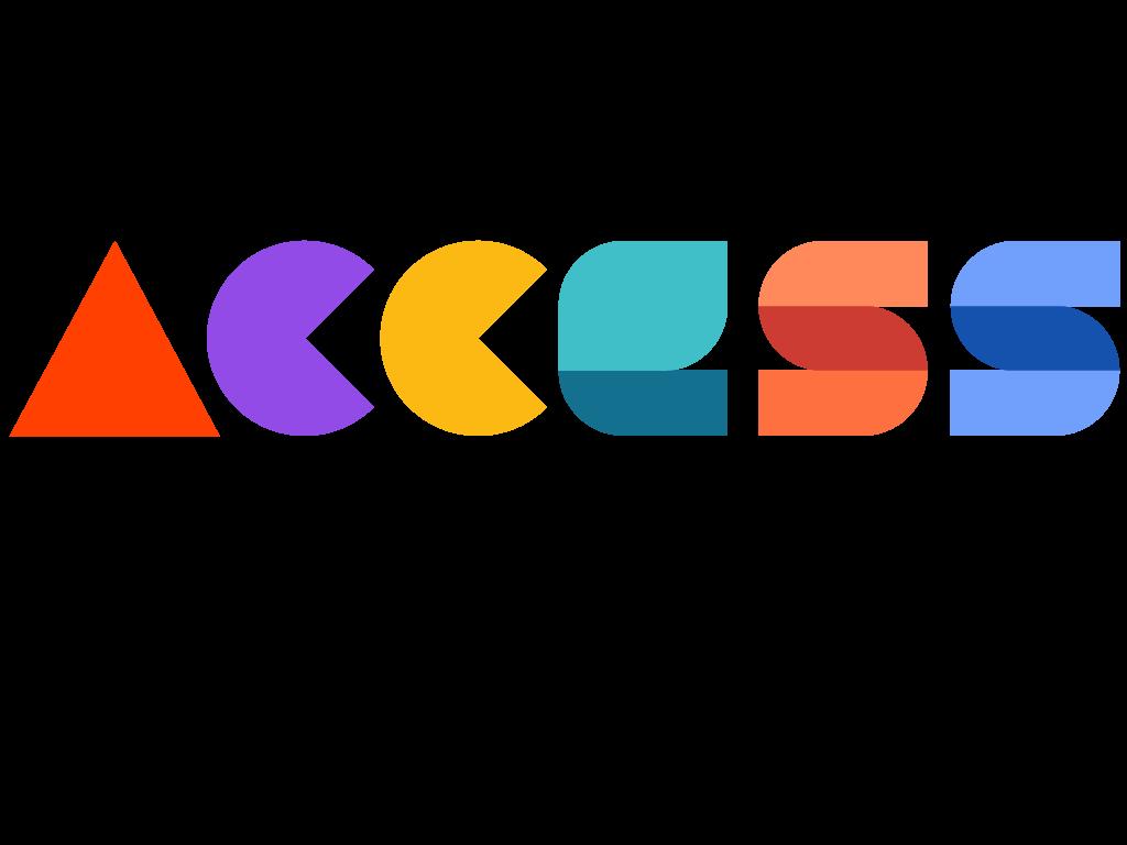Logo bunter schriftzug acess und darunter in schwarz Guide Magazin