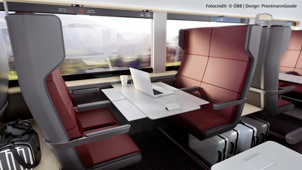 Designbild der Sitze des neuen Railjet der 2. Klasse. Ein großer Tisch und je 2 Sitzplätze sitzen vis a vis. In der Mitte des Tisches steht ein Notebook, der Tisch ist sehr groß.
